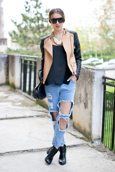 ripped jeans with boots - Jean Yu Beauty