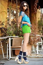 chartreuse H&M shorts - turquoise blue satin Forever 21 top - open toe pumps