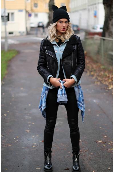 black Zara hat - black Mango jacket - black H&M pants