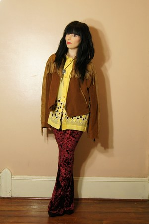 brown The Jennie Shop jacket - ruby red Urban Outfitters pants