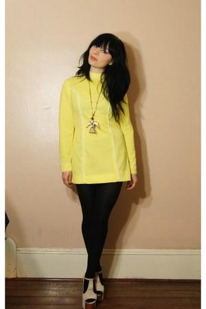 yellow dress - cream foxy Jeffrety Campbell shoes - necklace