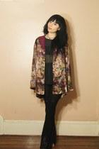 magenta blouse - black sheer black ovate shirt