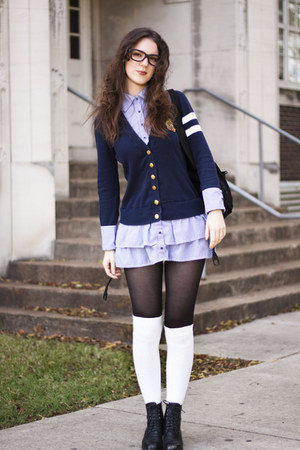 black granny boots Goodwill boots - navy cardigan dress Forever 21 dress