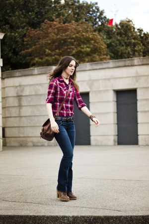 red plaid button up Mossimo top - heeled boots Nine West boots - blue Ross jeans