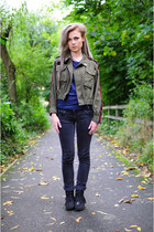 olive green The Left bank by Hardy Punglia jacket - black jeans