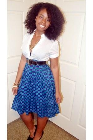 blue vintage no brand skirt - black vintage no brand belt - white button up Cant