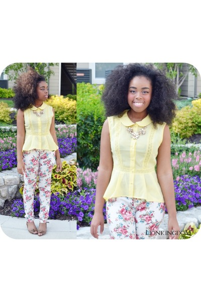 white floral pants - yellow Forever 21 top