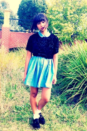black creepers unknown shoes - sky blue Valleygirl dress