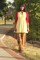 red gold block heel asos shoes - yellow brodarie Valley Girl dress