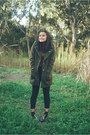 Gray-sparkley-gummie-boots-army-green-glassons-coat-dark-gray-topshop-jeans