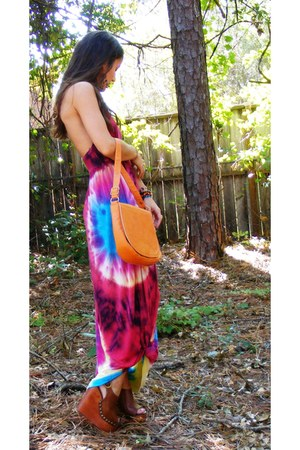 magenta tie dye Double zero dress - carrot orange vintage purse