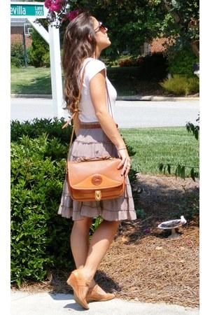 brown free people skirt - tawny vintage Dooney & Bourke purse