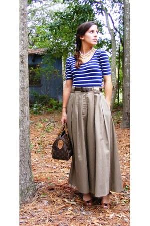 dark khaki vintage calvin klein skirt - dark brown vintage Louis Vuitton purse