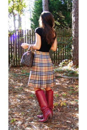 camel vintage burberry skirt - brick red Vintage Dex boots