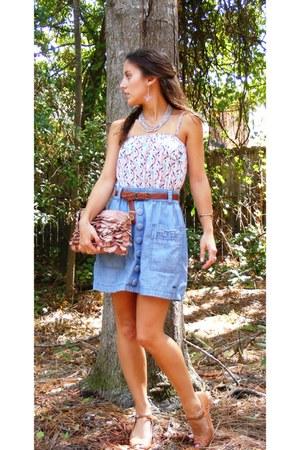 Billabong skirt - light pink francescas purse - sky blue Billabong top