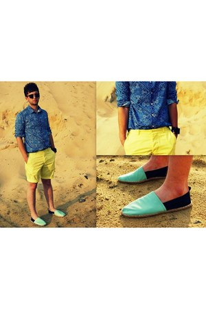 blue Topman shirt - light blue H&M shoes - yellow H&M shorts
