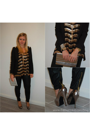 gold sequined top - blazer - leather look pants - heels