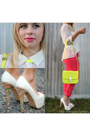 heels - coral denim jeans - neon box bag - open back blouse