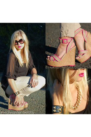 neon wedges - sunglasses - collarless blouse - ankle-biter pants