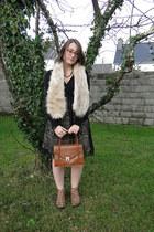 black Promod dress - beige fake fur H&M scarf - tawny vintage bag
