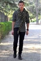 army green monogramouflage Louis Vuitton scarf - black Primark boots