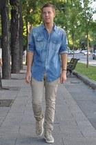 nude Christian Louboutin sneakers - light blue Zara shirt - nude Zara pants
