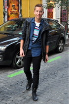 black Primark boots - navy Topman jacket - blue denim The Kooples shirt