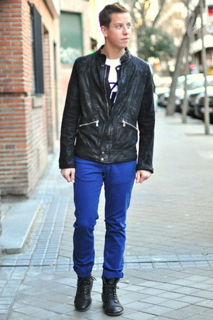 blue Zara pants - black Primark boots - black Zara jacket - white YSL t-shirt