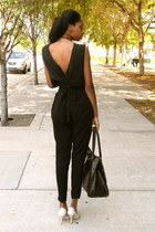 dark brown H&M purse - eggshell Nine West heels - black Forever 21 pants - black