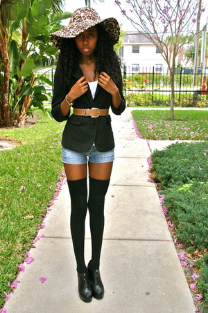 gold Aldo hat - black Charlotte Russe blazer - blue Guess shorts - black merona