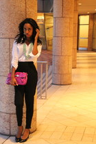 magenta merona purse - white Forever 21 blouse - black Forever 21 pants - black