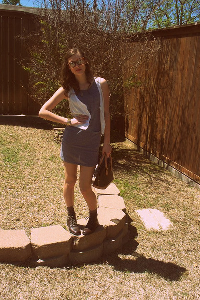 gray American Apparel dress - brown 50 cent shoes - brown dads socks