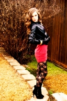 black leather gloves - black fifres loubs shoes - red mini dress - black jacket