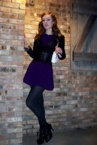 purple dress - black stockings - black shoes - black belt - white Chanel purse