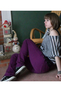 Black-from-friend-shirt-purple-delias-pants