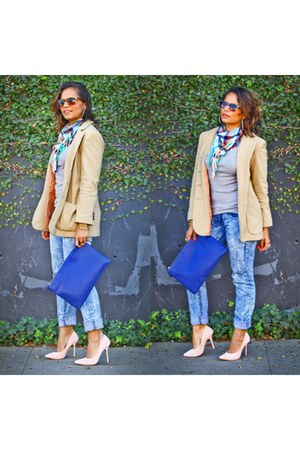 tan ann taylor coat - blue clutch bag - light pink Love Culture heels