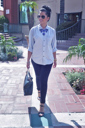 periwinkle thrifted shirt - black just fab bag - black Forever21 sunglasses