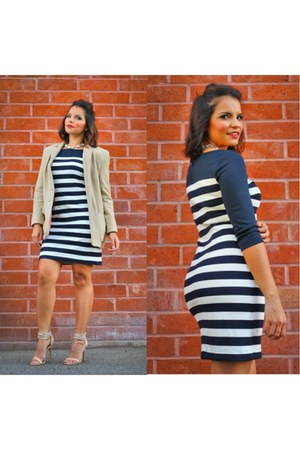 blue banana republic dress - tan thrifted coat - nude Forever 21 heels