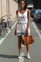 burnt orange pieces bag - sky blue H&M shorts - white H&M top - red H&M bracelet