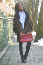 black H&M blazer - black Primark boots - sky blue Burberrys shirt