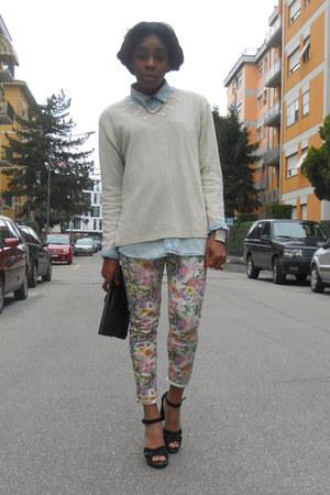 sky blue denim H&M shirt - asos necklace - Stradivarius pants