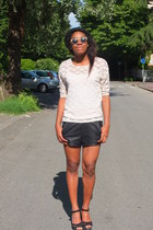 H&M sunglasses - Pennyblack hat - leather Zara shorts - lace H&M top - H&M ring