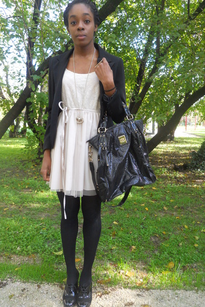 black blugirl bag - eggshell Pink Amber dress - black Pinko blazer