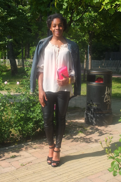 nude H&M blouse - navy denim Sisley jacket - hot pink Zara bag