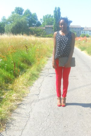 heather gray Zara bag - red H&M pants - dark gray Monki top