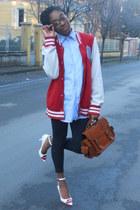 H&M jacket - sky blue Sea&Sky Sportwear shirt - burnt orange pieces bag