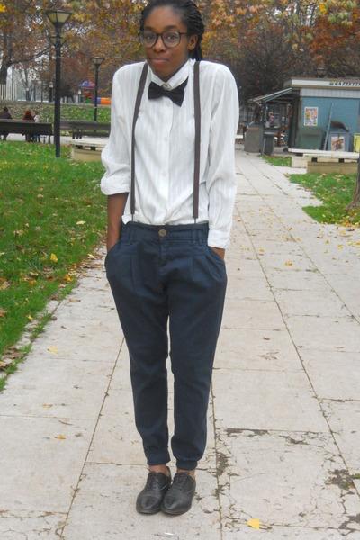 black H&M accessories - navy Zara pants - black H&M glasses
