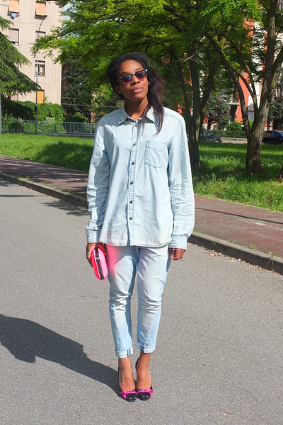 sky blue denim H&M shirt - sky blue Pinko jeans - hot pink Zara bag