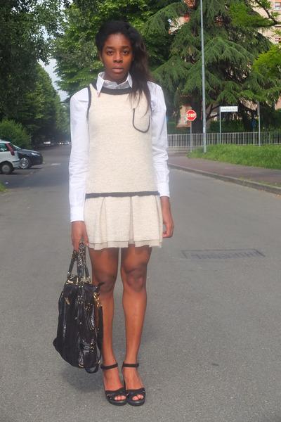 black BlugirlBlumarine bag - eggshell imperial dress - black Pennyblack sandals