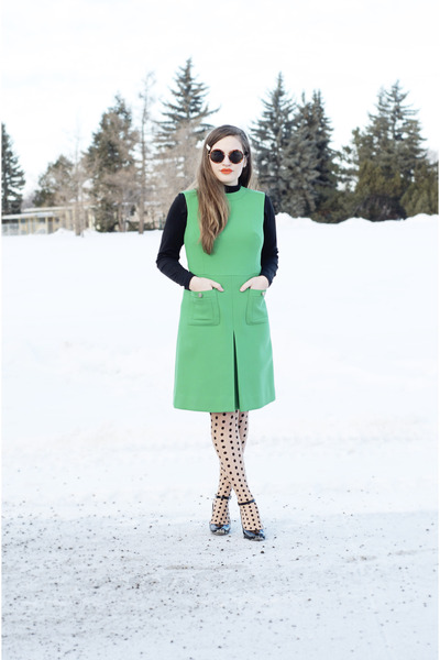 green green shift vintage dress - Wolford tights - The Row sunglasses